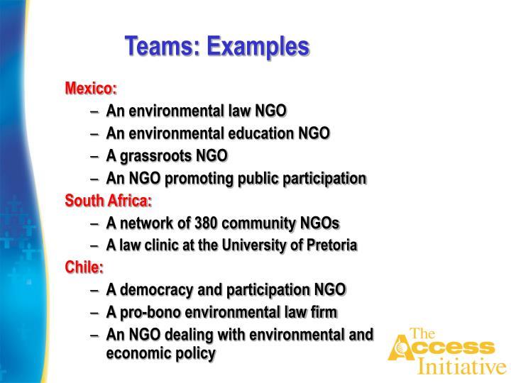 Teams: Examples