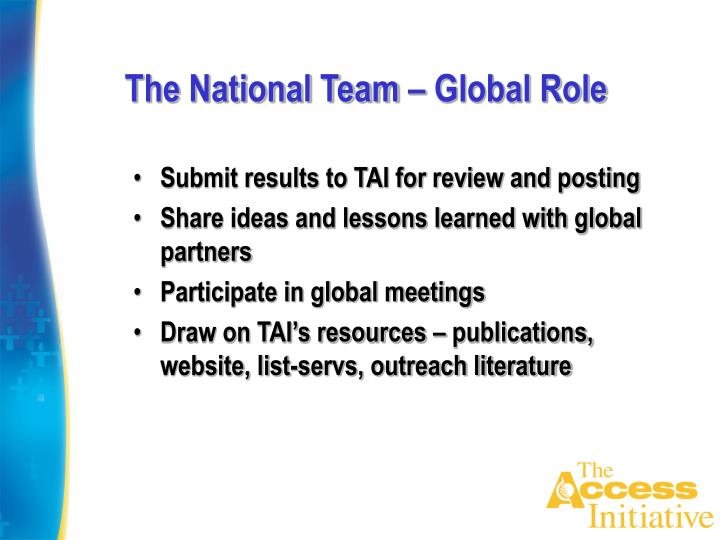 The National Team – Global Role