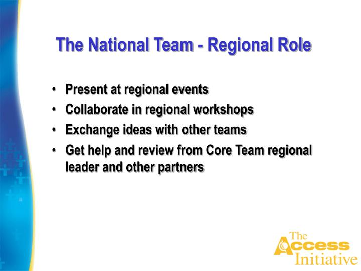 The National Team - Regional Role