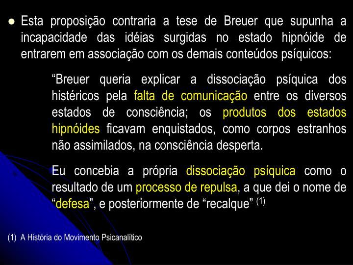 Esta proposio contraria a tese de Breuer que supunha a incapacidade das idias surgidas no estado hipnide de entrarem em associao com os demais contedos psquicos: