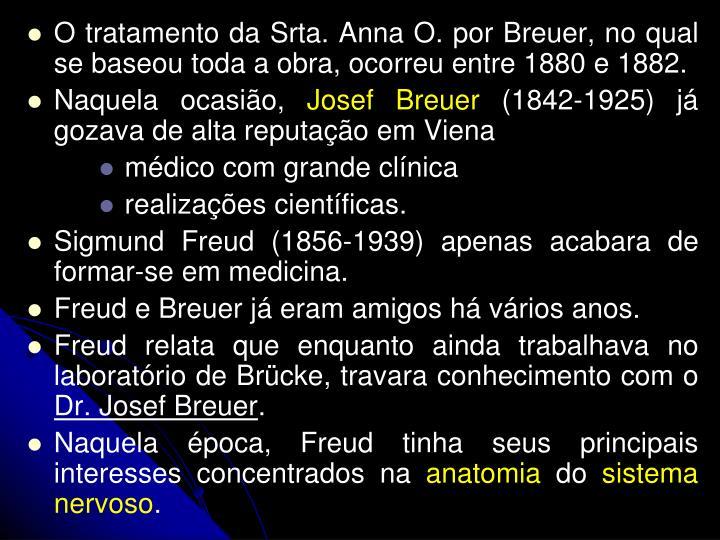 O tratamento da Srta. Anna O. por Breuer, no qual se baseou toda a obra, ocorreu entre 1880 e 1882.