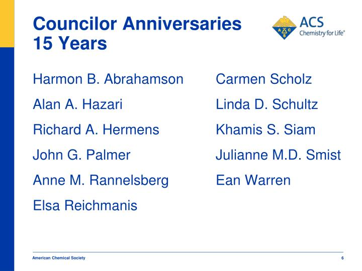Councilor Anniversaries 15 Years