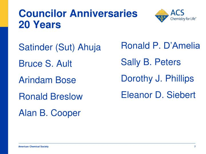 Councilor Anniversaries 20 Years