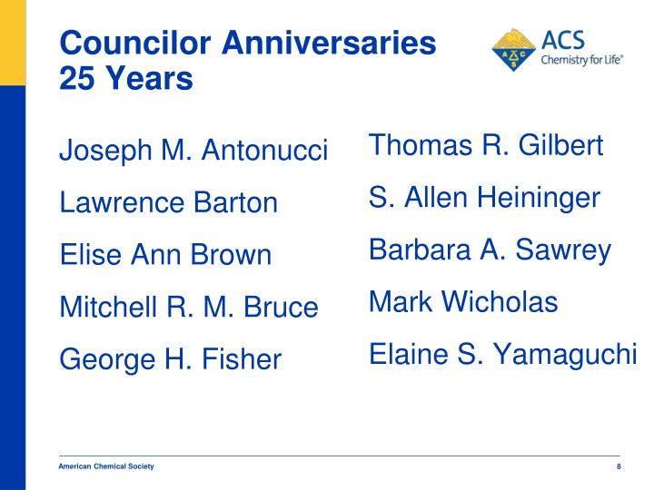 Councilor Anniversaries 25 Years