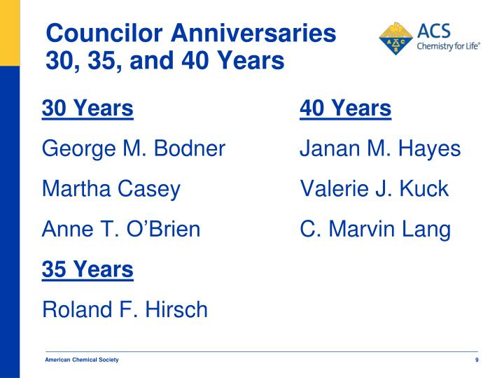 Councilor Anniversaries 30, 35, and 40 Years