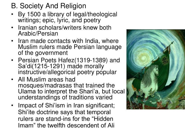 B. Society And Religion