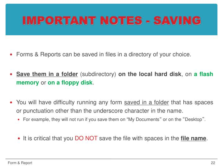 IMPORTANT NOTES - SAVING