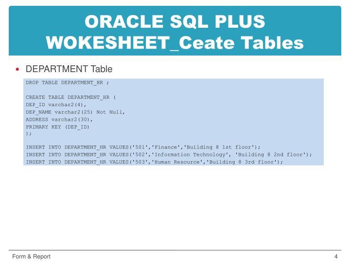 ORACLE SQL PLUS WOKESHEET_Ceate Tables