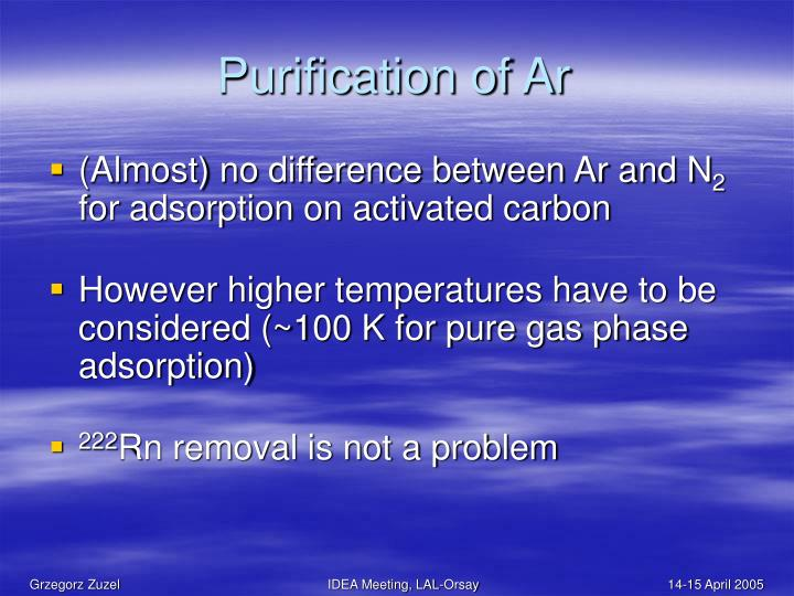 Purification of Ar