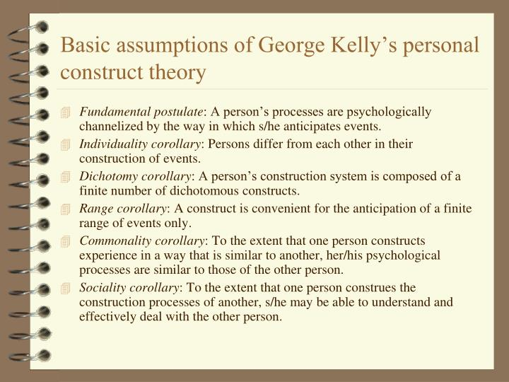 Basic assumptions of George Kelly's personal construct theory