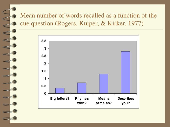 Mean number of words recalled as a function of the cue question (Rogers, Kuiper, & Kirker, 1977)