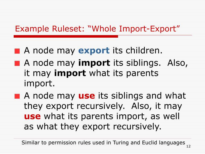 "Example Ruleset: ""Whole Import-Export"""