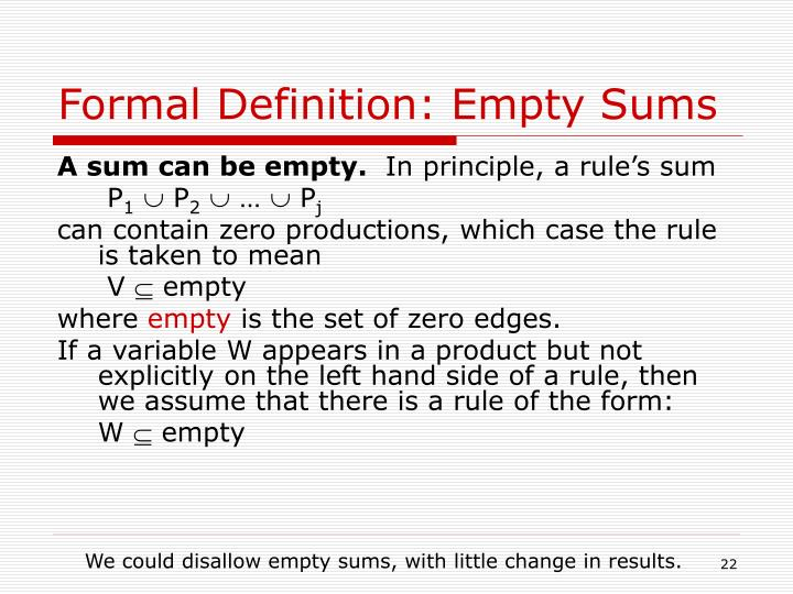 Formal Definition: Empty Sums