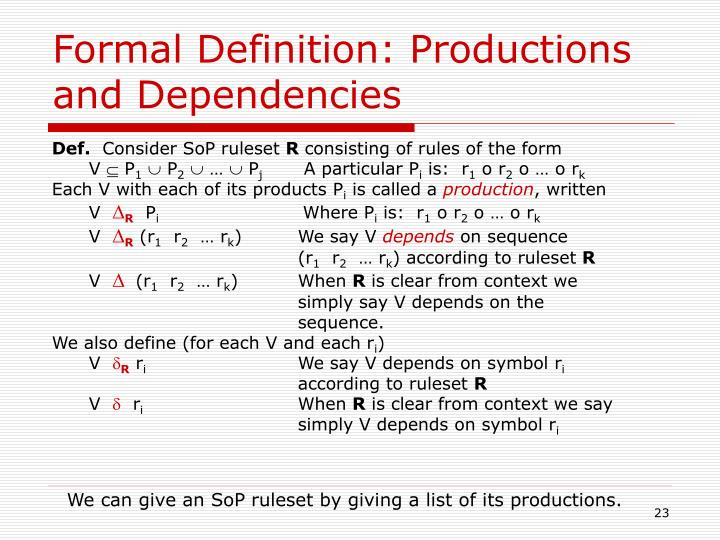 Formal Definition: Productions and Dependencies