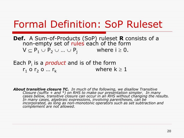 Formal Definition: SoP Ruleset