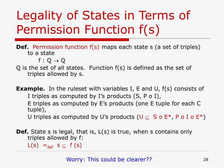 Legality of States in Terms of Permission Function f(s)
