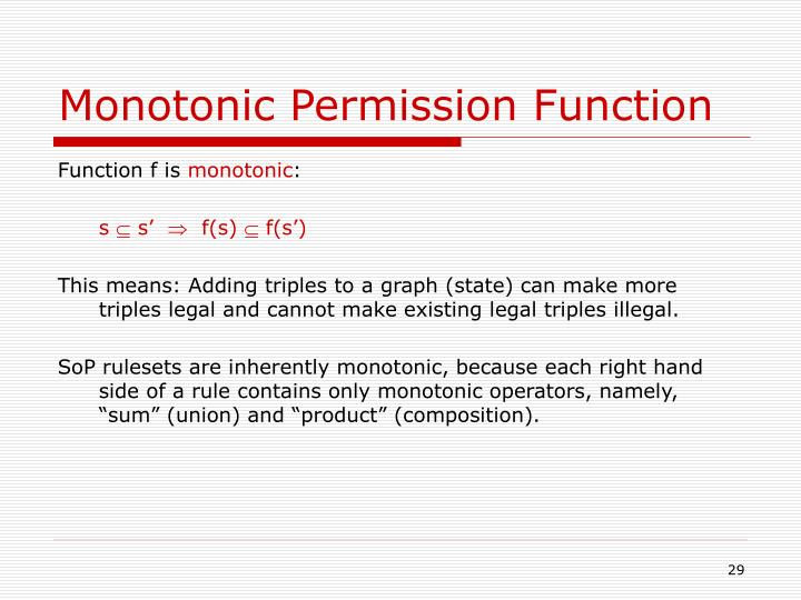 Monotonic Permission Function