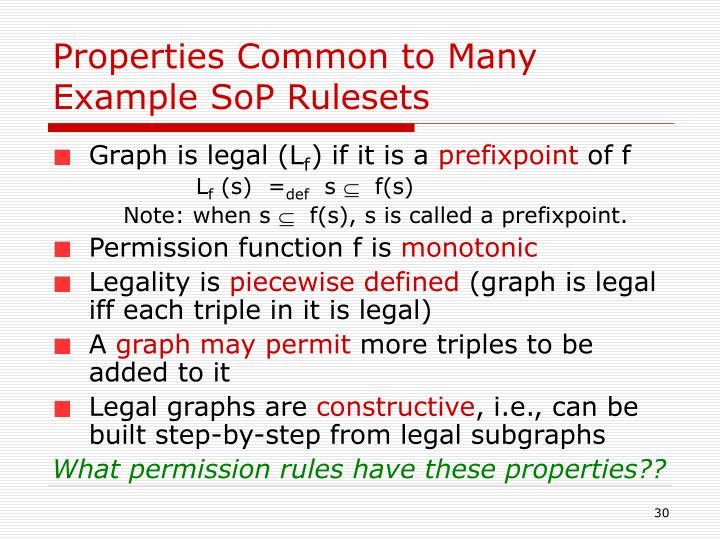 Properties Common to Many Example SoP Rulesets
