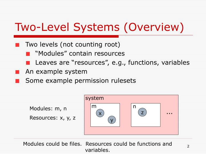 Two-Level Systems (Overview)