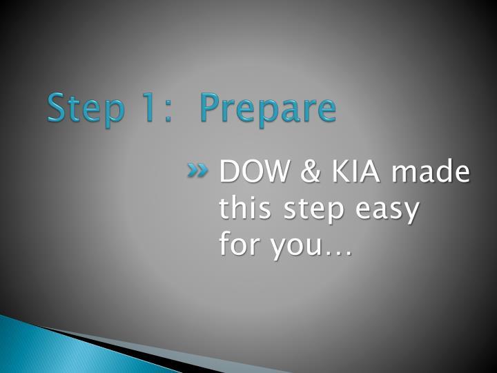 Step 1:  Prepare