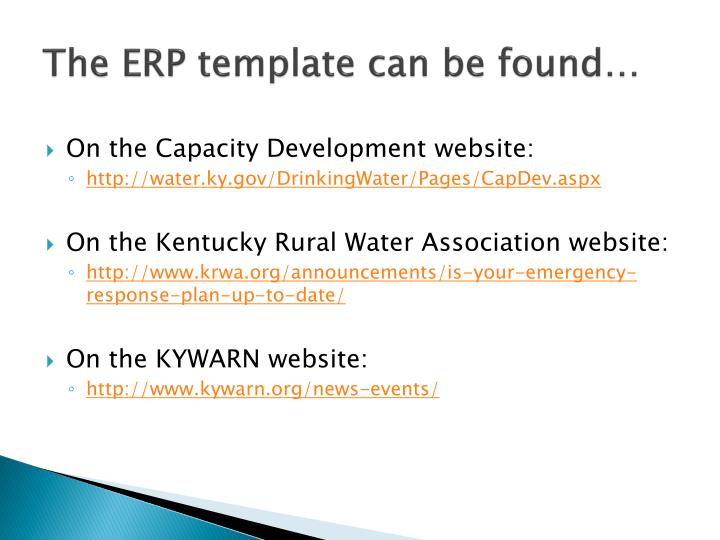 The ERP template can be found…