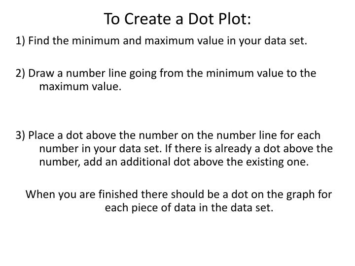 To Create a Dot Plot: