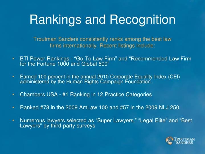 Rankings and Recognition