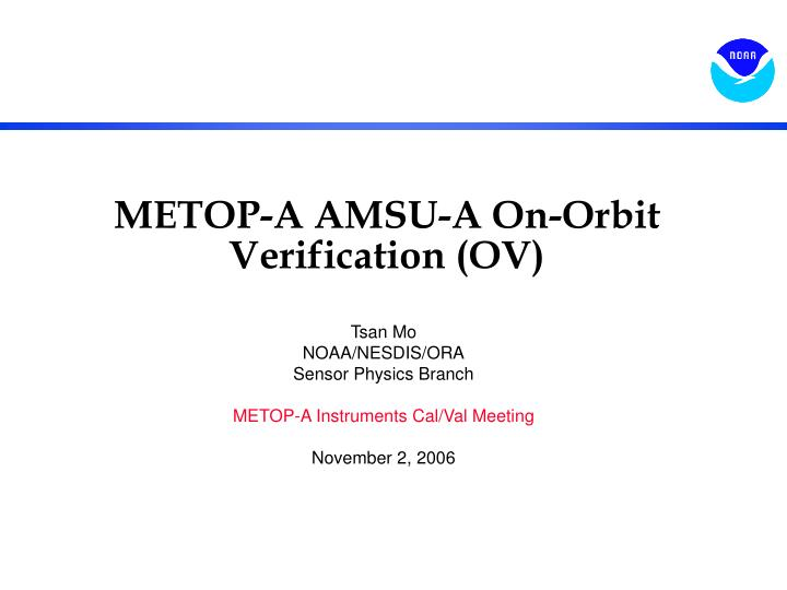 Metop a amsu a on orbit verification ov