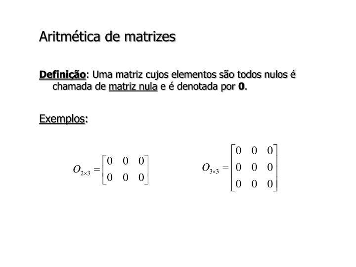 Aritmética de matrizes