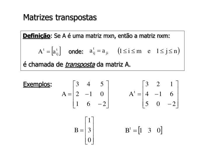 Matrizes transpostas