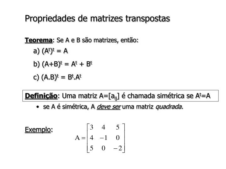 Propriedades de matrizes transpostas