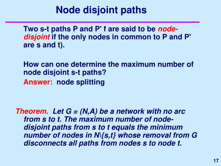 Node disjoint paths