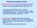 proofs of lemmas 4 and 5