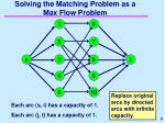 solving the matching problem as a max flow problem
