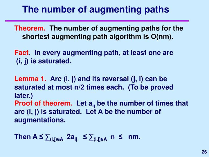 The number of augmenting paths