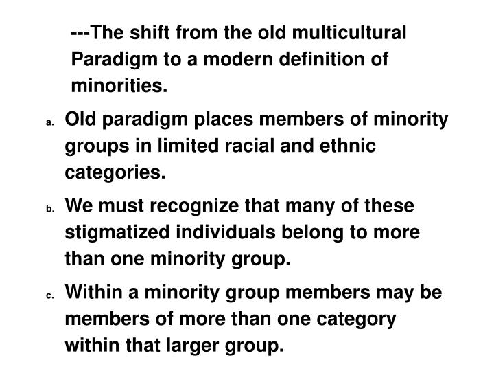 ---The shift from the old multicultural Paradigm to a modern definition of minorities.