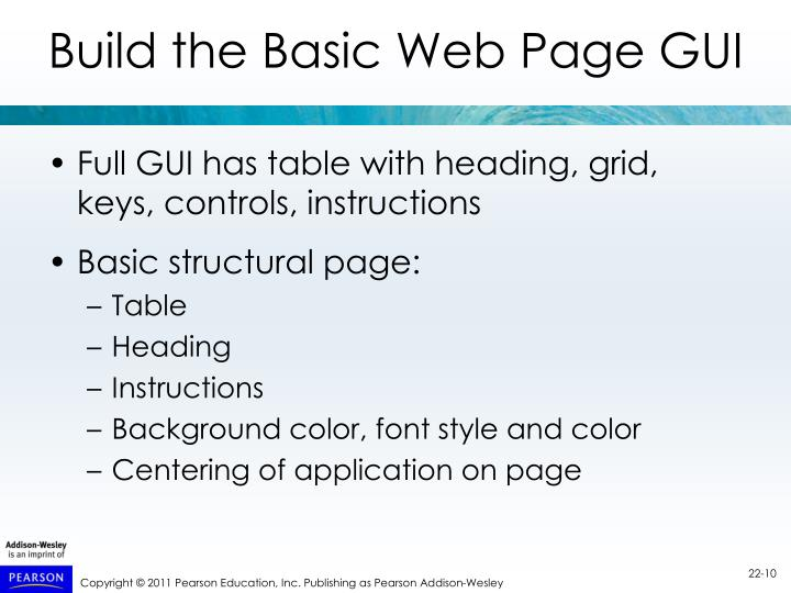 Build the Basic Web Page GUI