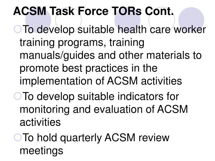 ACSM Task Force TORs Cont.