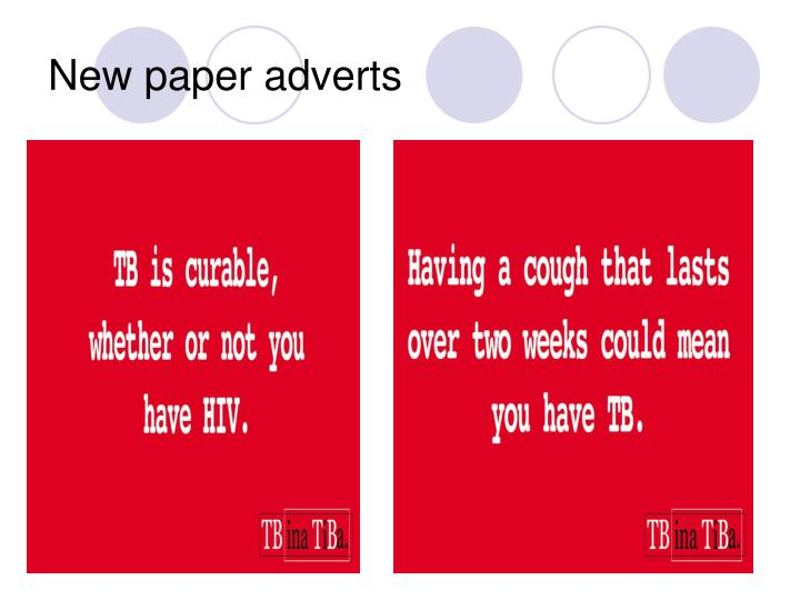 New paper adverts