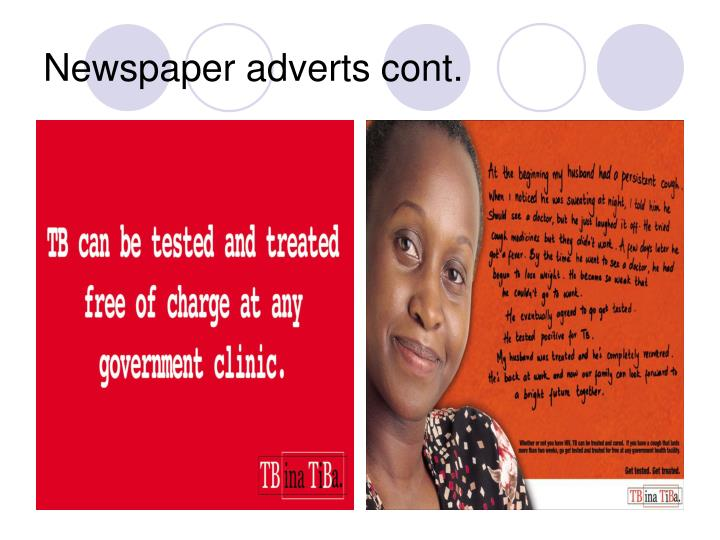 Newspaper adverts cont.