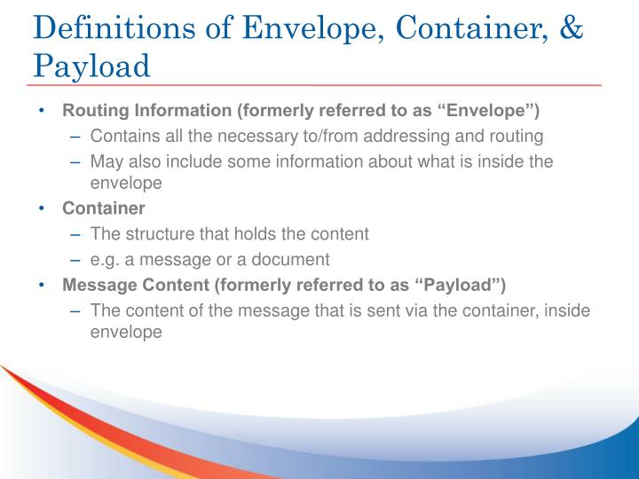 Definitions of Envelope, Container, & Payload