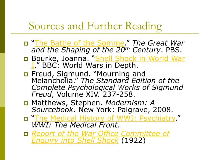 Sources and Further Reading