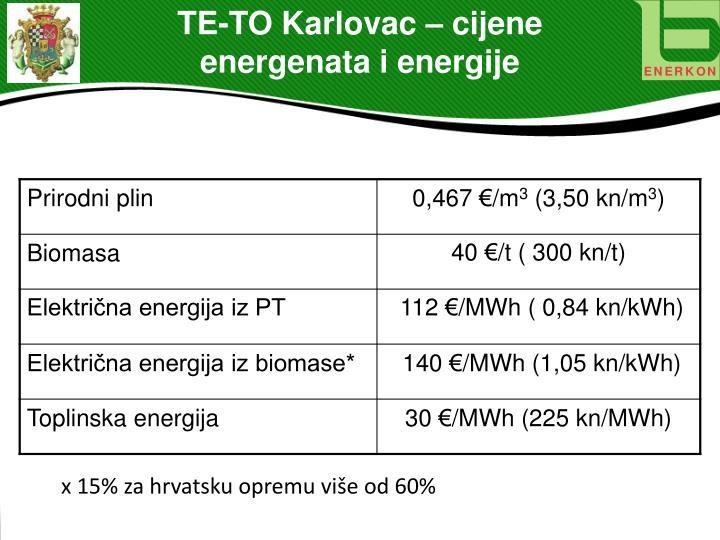TE-TO Karlovac – cijene energenata i energije