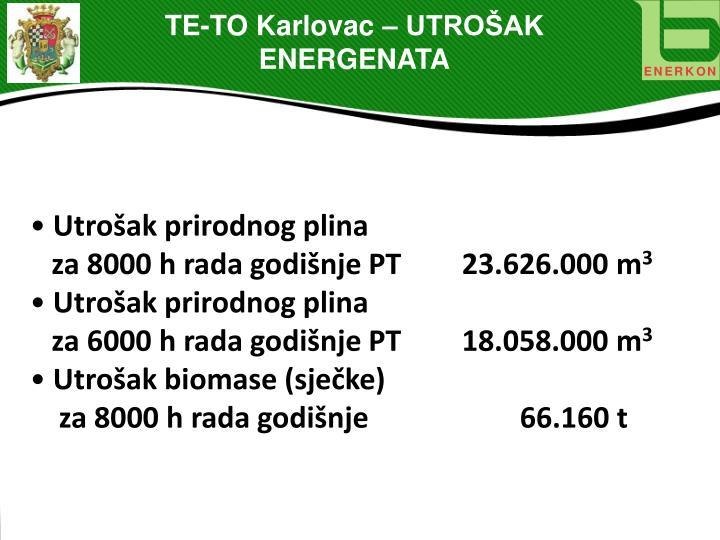 TE-TO Karlovac – UTROŠAK ENERGENATA