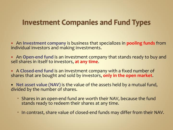 Investment companies and fund types