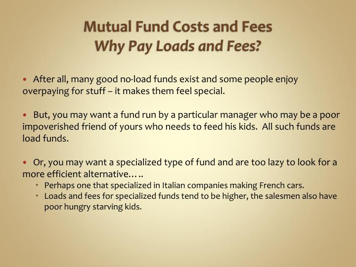 Mutual Fund Costs and Fees