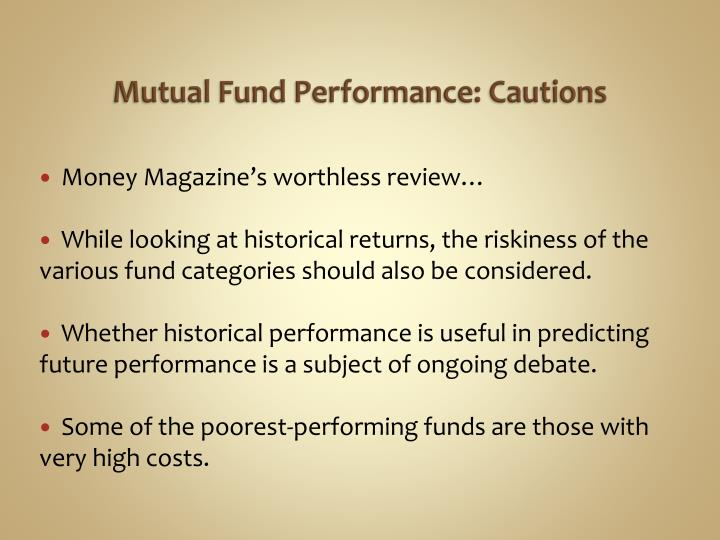 Mutual Fund Performance: Cautions
