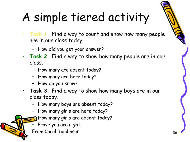 A simple tiered activity