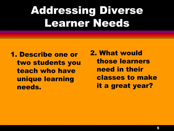 1. Describe one or two students you teach who have unique learning needs.