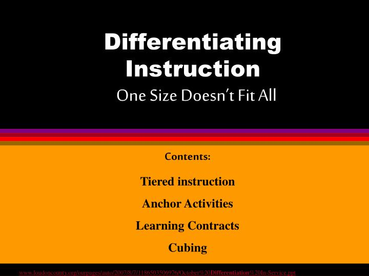 Differentiating instruction one size doesn t fit all